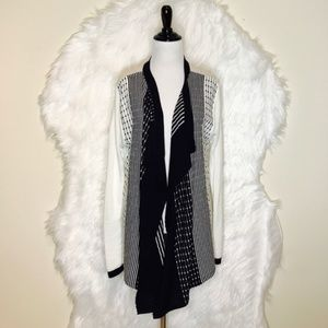 One A Black and White Sweater Cardigan